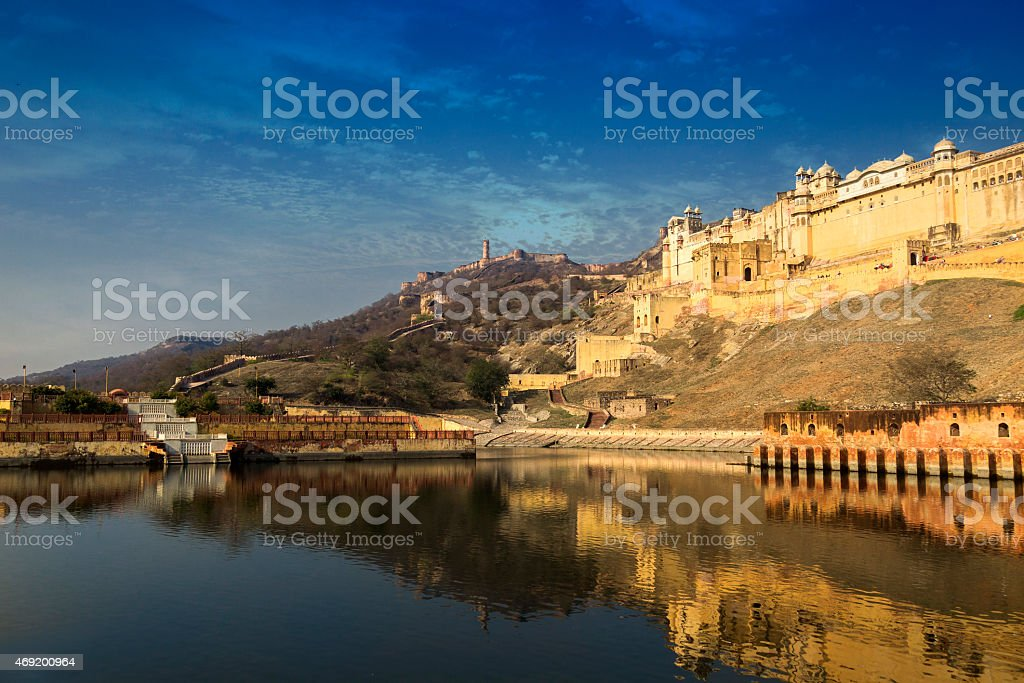 A stunning view of Amer Fort, Rajasthan, India  stock photo