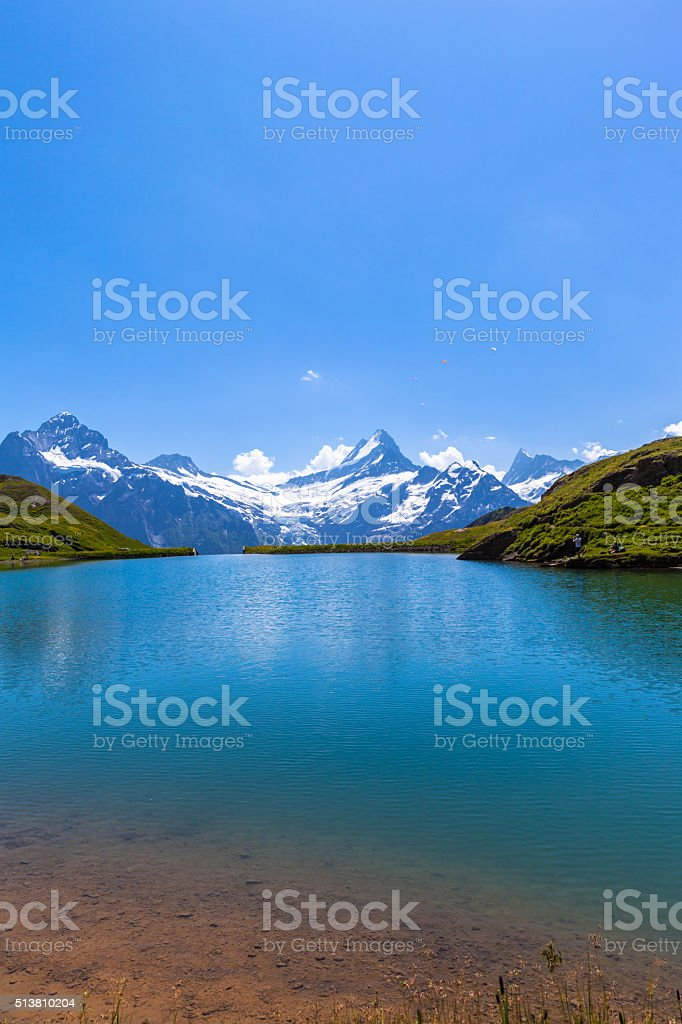 Stunning view of Bachalpsee and the alps stock photo
