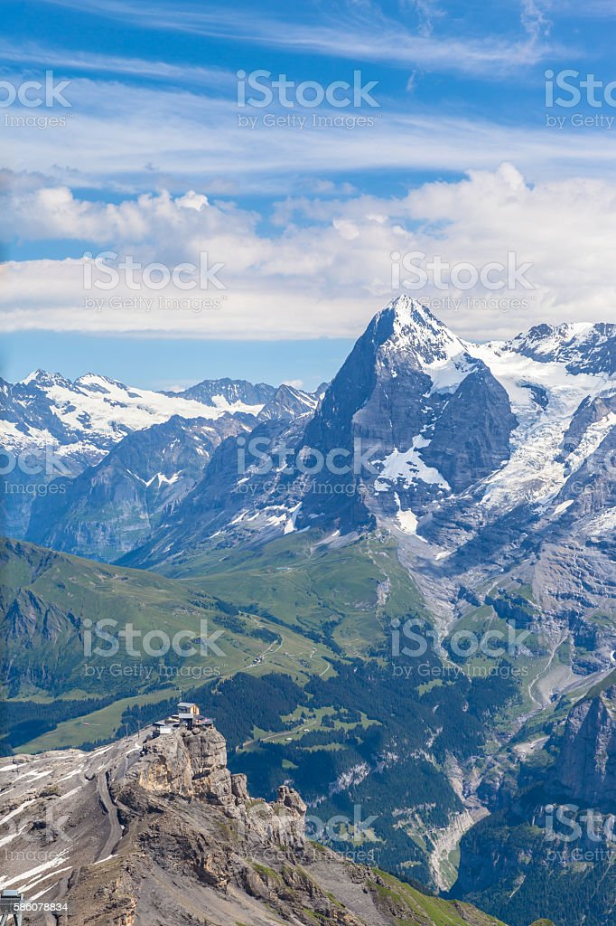 Stunning view of Eiger from Schilthorn stock photo