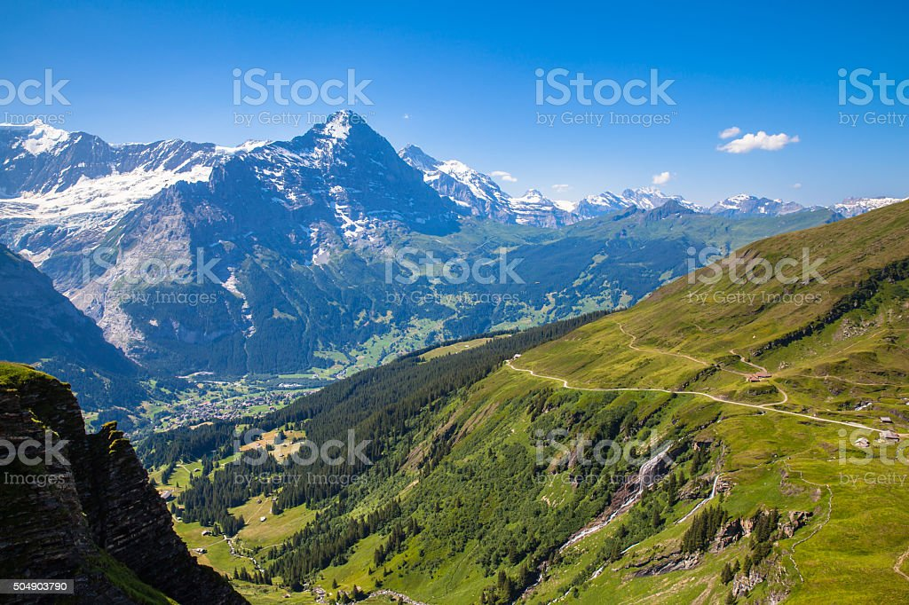 Stunning view of Eiger North face and  Bernese Alps stock photo