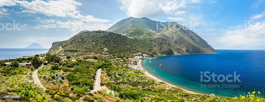 Stunning view of Filicudi island two shores. stock photo