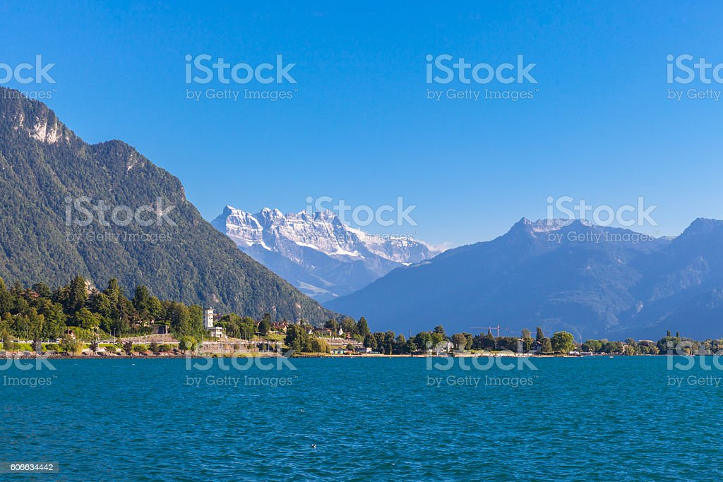 Stunning view of Geneva lake and Alps stock photo