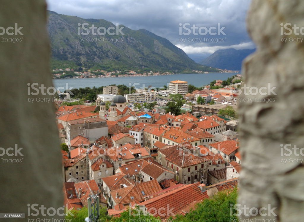 Stunning view of Kotor Old City and Kotor Bay seen from the Rampart, Kotor, Montenegro stock photo