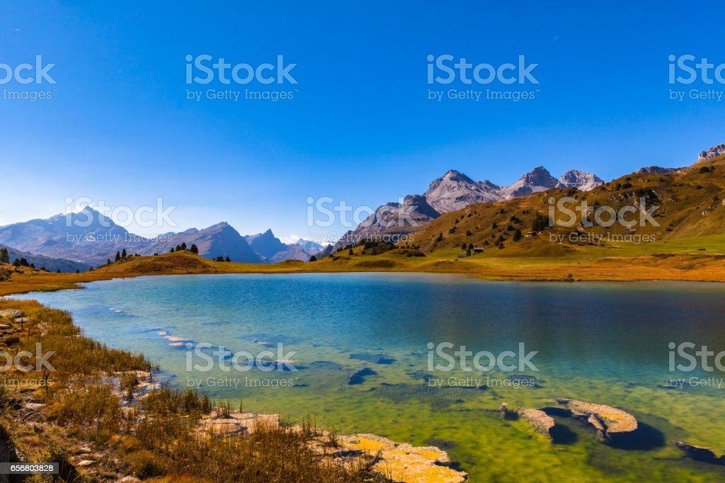 Stunning view of lake Lai da Vons stock photo