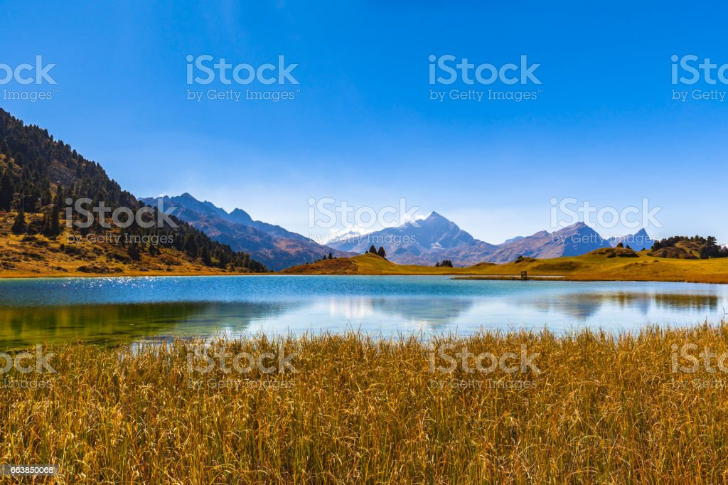 Stunning view of lake Lai da Vons stock photo
