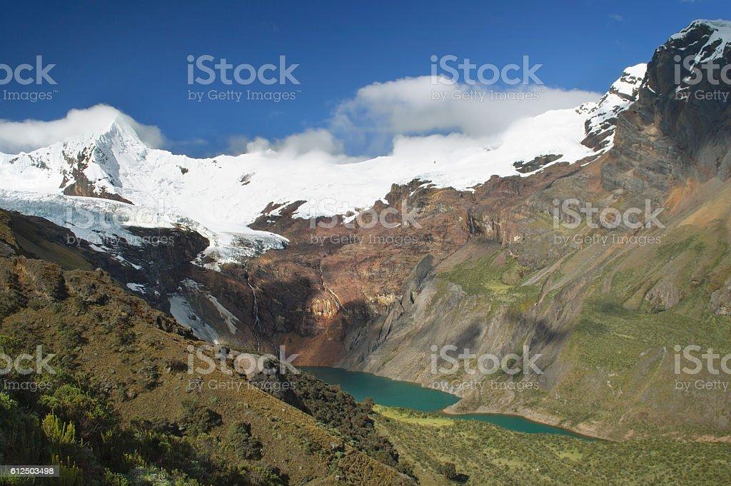 Stunning view of lake Tullpacocha beneath mount Tullparahu stock photo