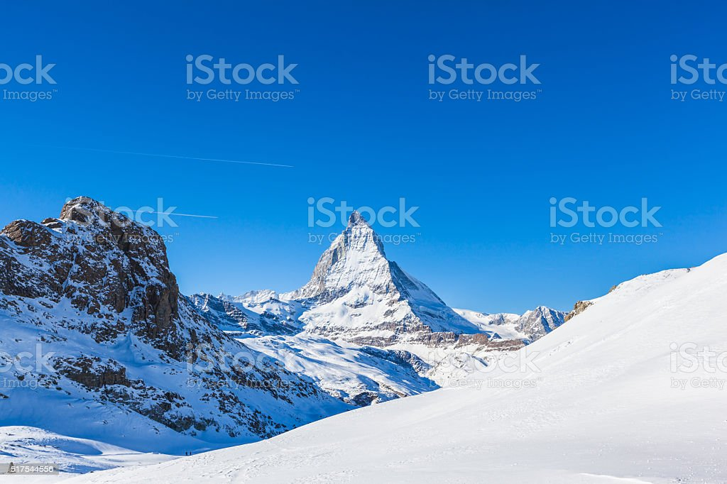 Stunning view of Matterhorn in Winter stock photo