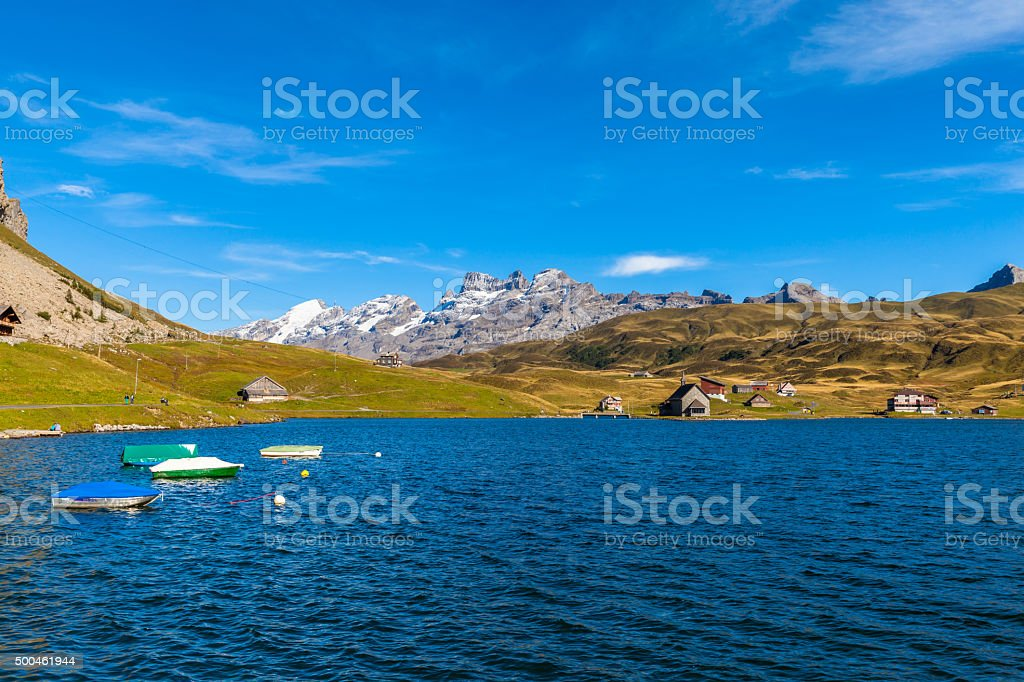 Stunning view of Melchsee and Titlis stock photo