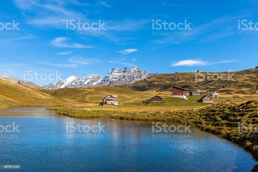 Stunning view of Melchsee and Titlis, Wendenstock stock photo