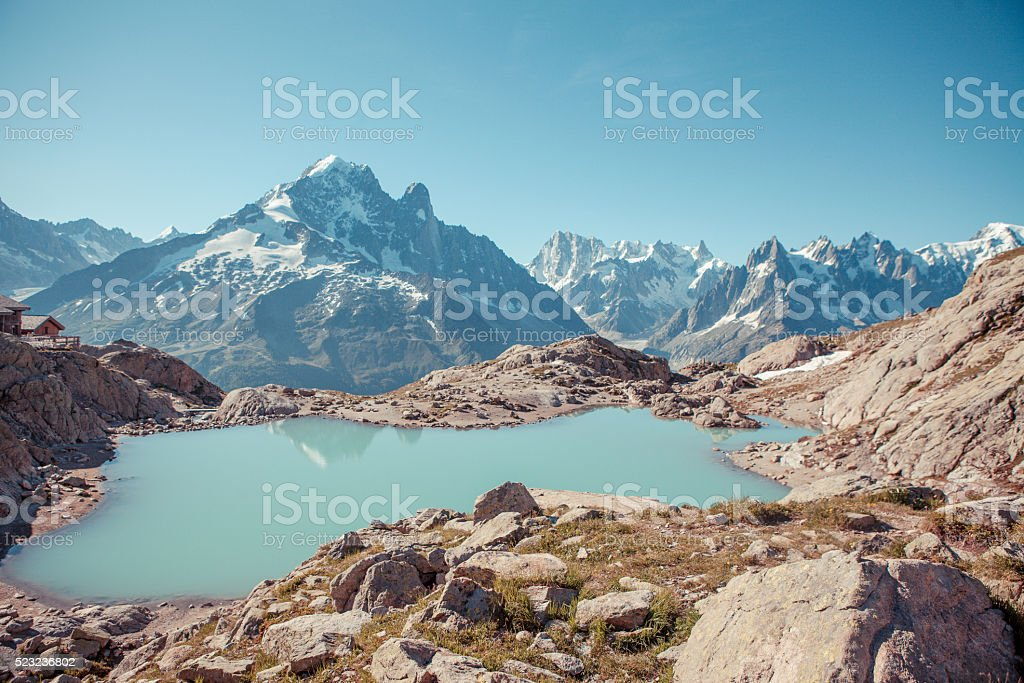 Stunning view of Mont Blanc over Lac Blank near Chamonix stock photo
