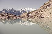 Stunning view of Mont Blanc over Lac Blank near Chamonix