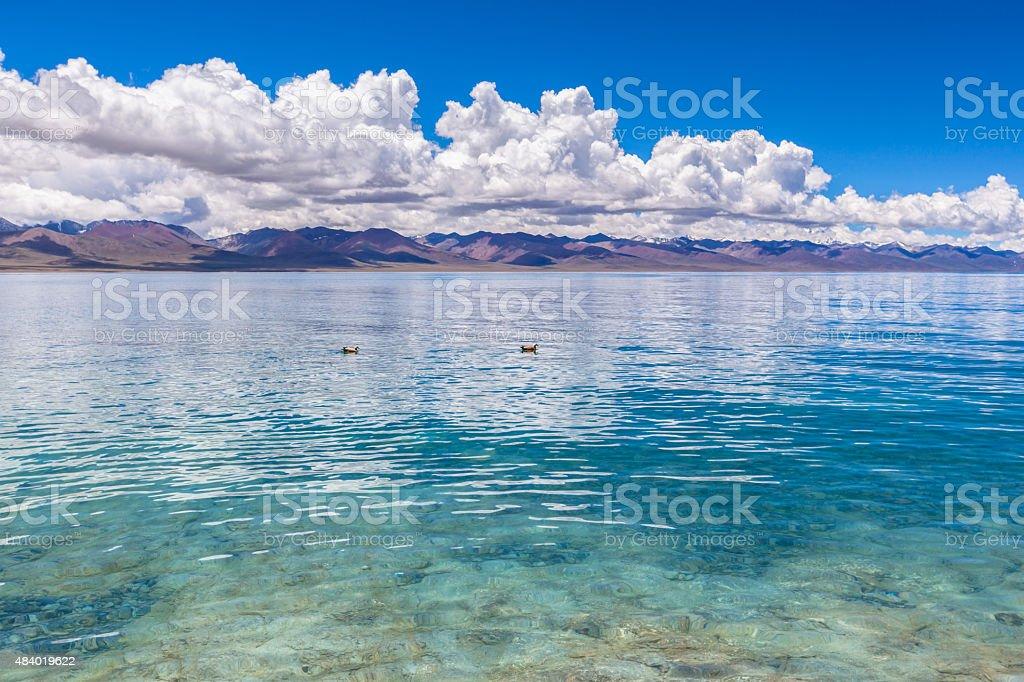 Stunning view of Namtso Lake stock photo