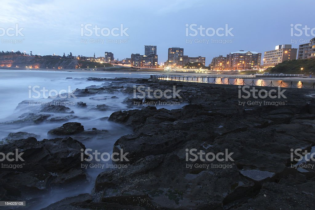 A stunning view of Newcastle Beach at dusk  royalty-free stock photo