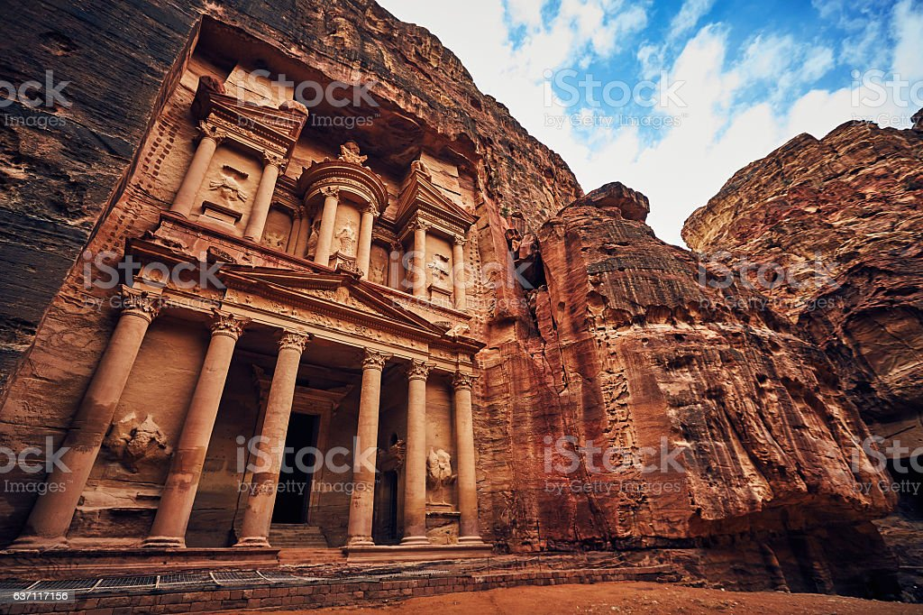 Stunning view of Petra church UNESCO heritage in rock stock photo