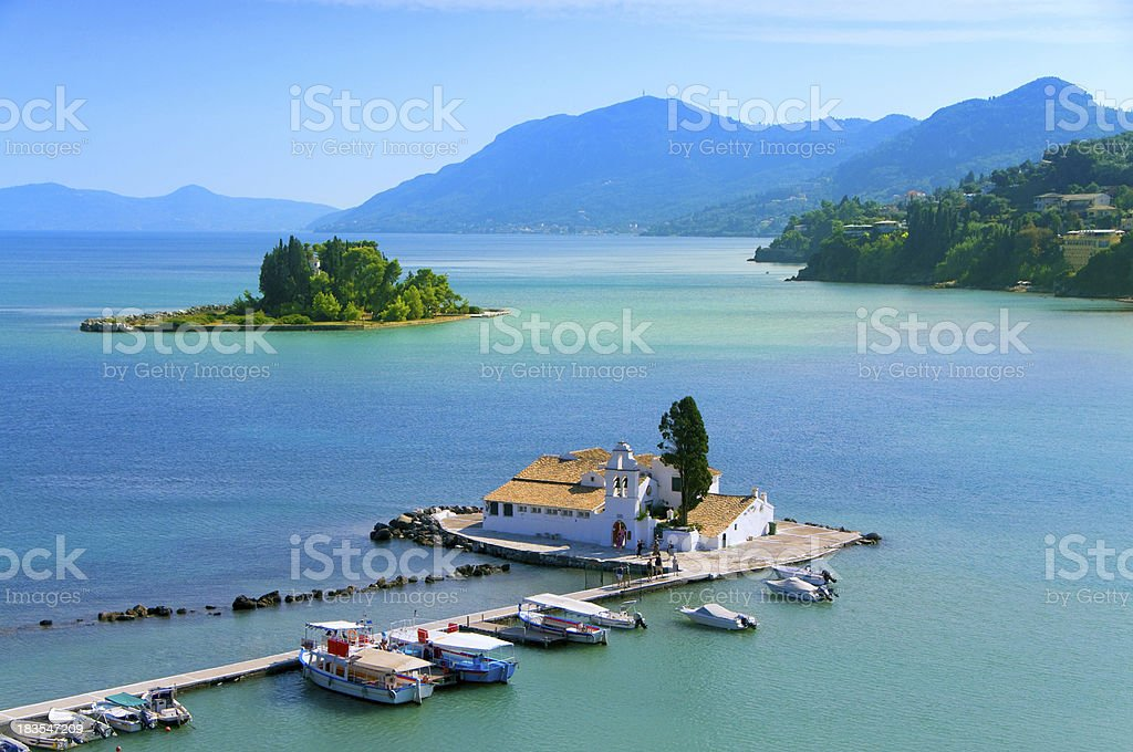 A stunning view of Pontikonisi area at Corfu island, Greece  stock photo