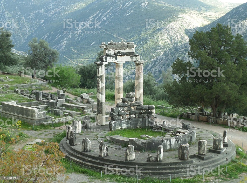 Stunning View of Sanctuary of Athena Pronaia, Delphi, Greece stock photo