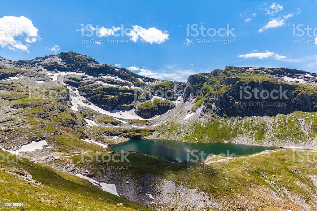 Stunning View of Schwarzsee (lake) near Pizol stock photo