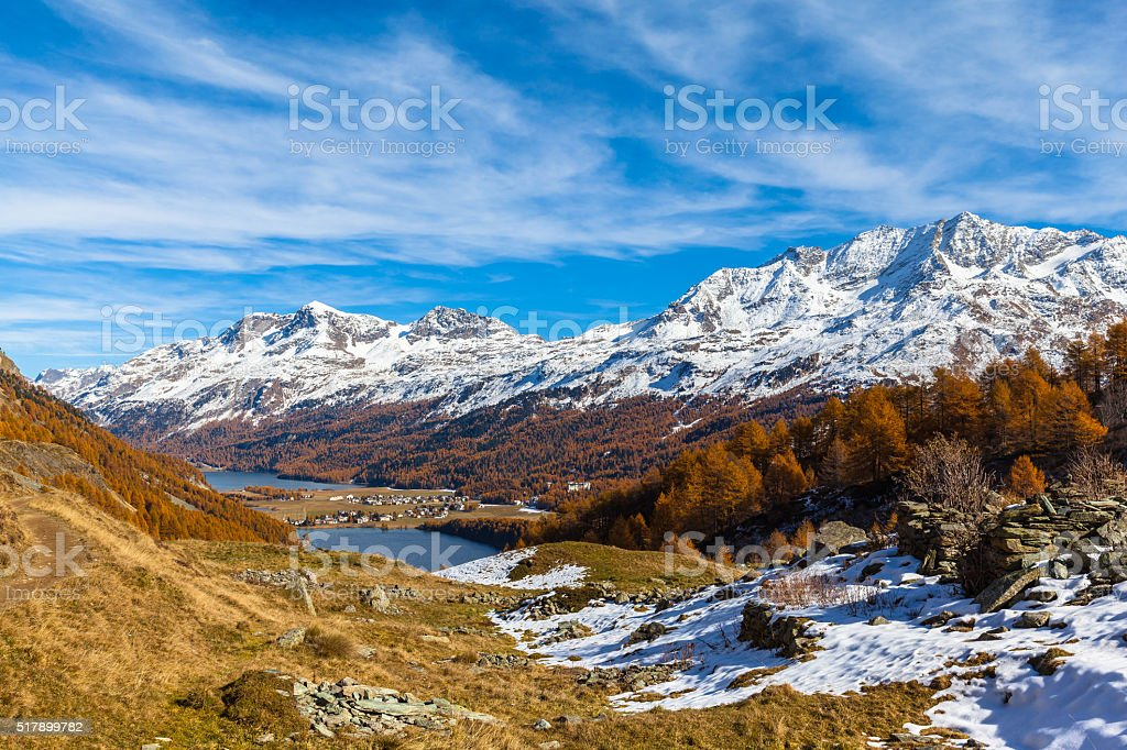 Stunning view of Sils lake in golden autumn stock photo