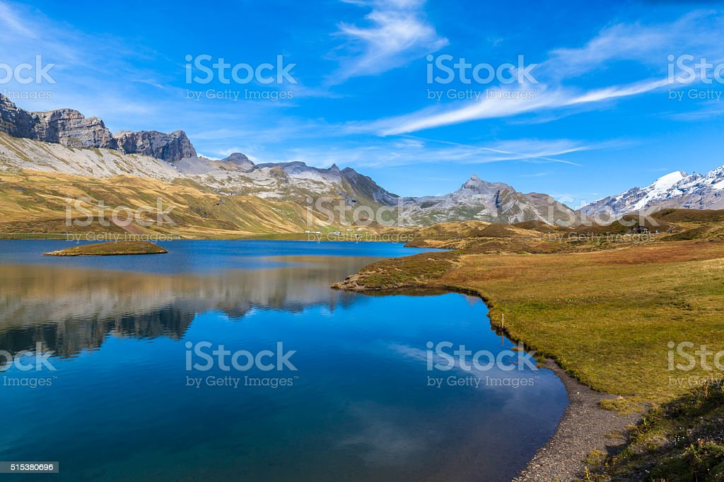 Stunning view of Tannensee and Mountain range of Tannalp stock photo