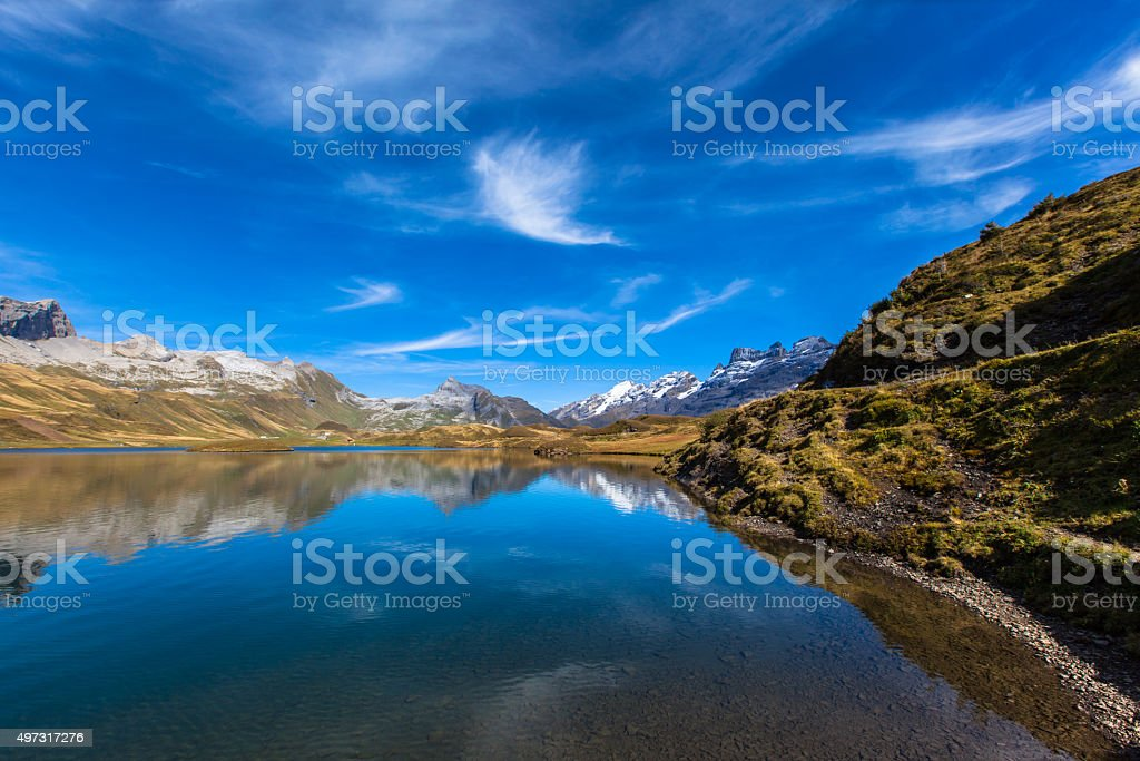 Stunning view of Tannensee and the Swiss Alps stock photo