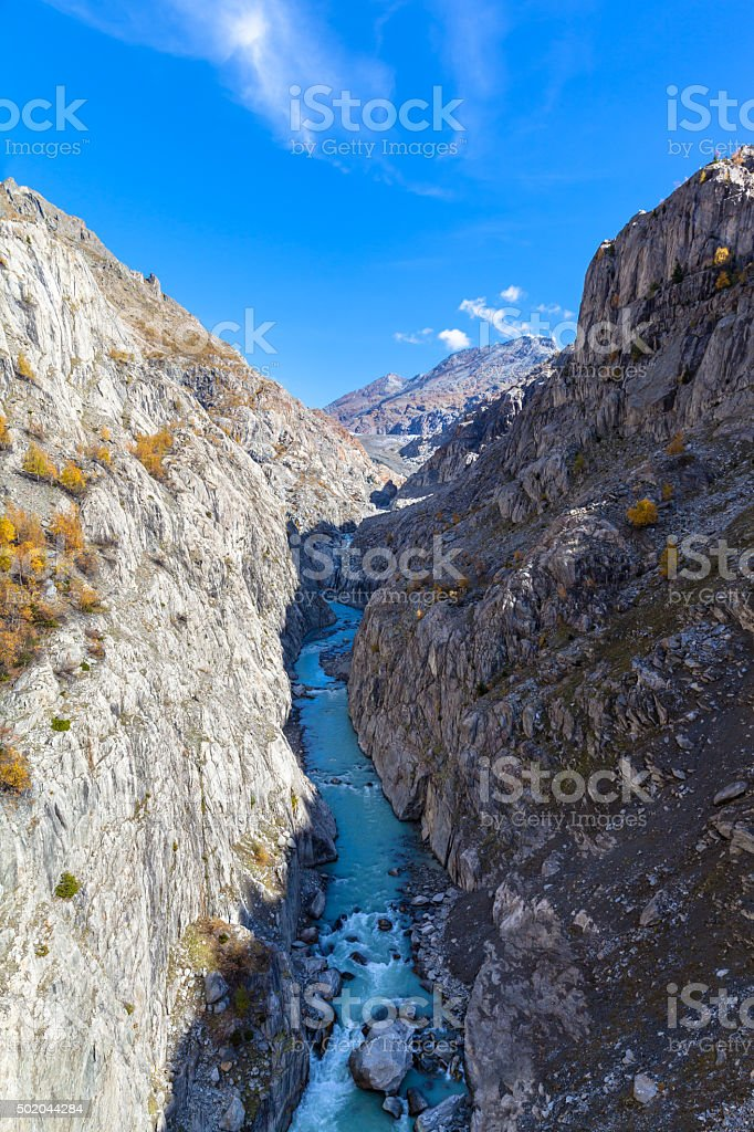 Stunning view of the canyon below Aletsch galcier stock photo