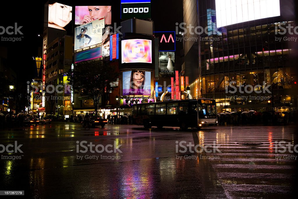 A stunning view of the city Shibuya in the evening royalty-free stock photo