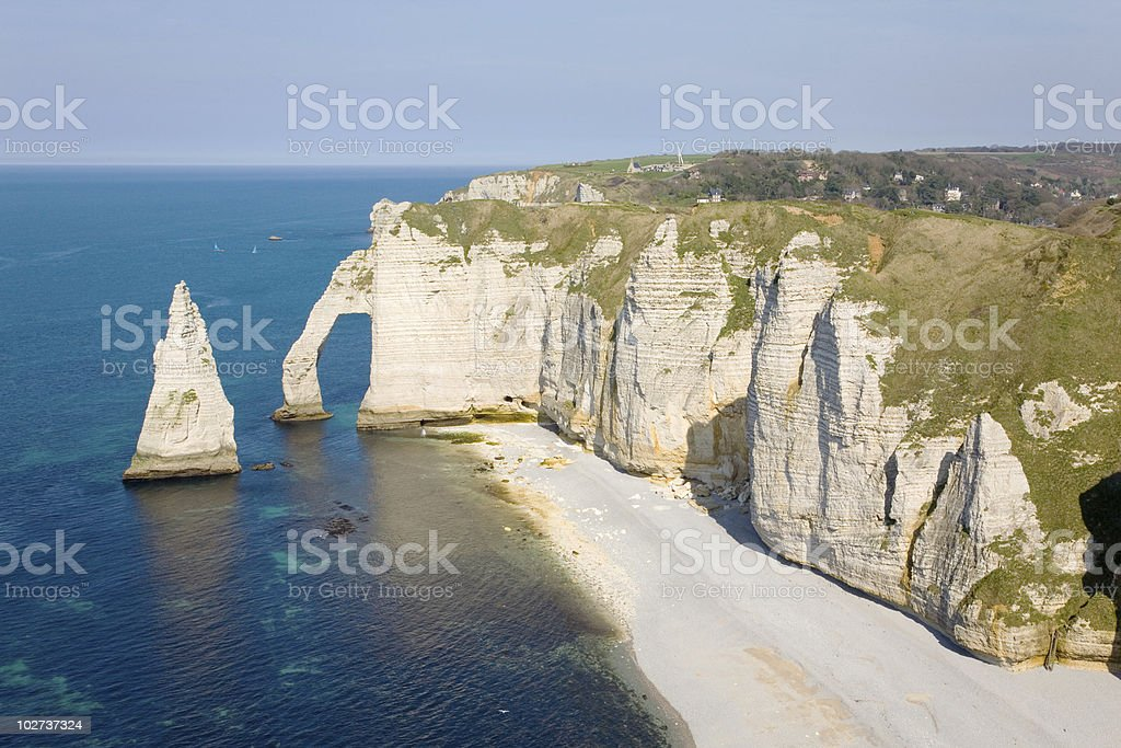 Stunning view of the cliffs at Etretat and the ocean royalty-free stock photo