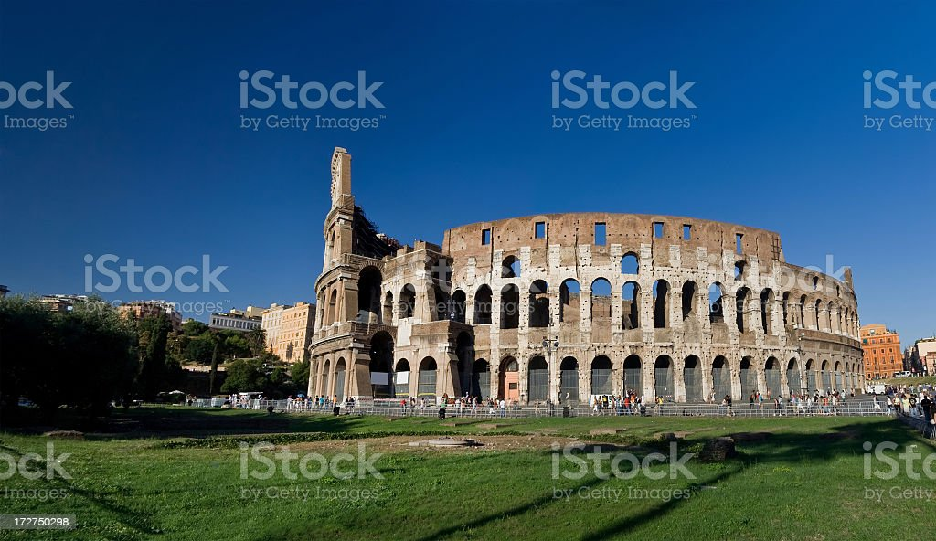 Stunning view of the Colosseum in Rome of Italy stock photo