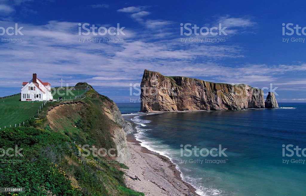 A stunning view of the gaspe perce rock in Quebec Canada stock photo