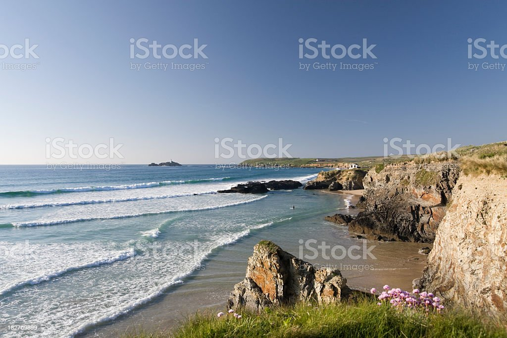 A stunning view of the Gwithian with rock formations  stock photo