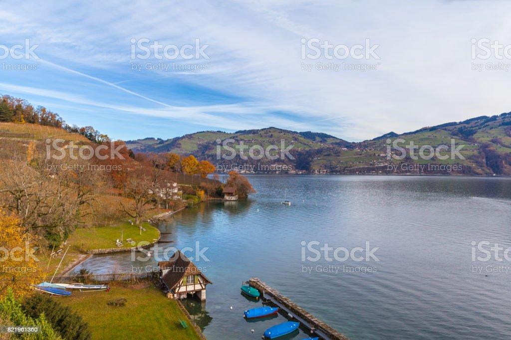 Stunning view of the Lake Thun in Spiez stock photo