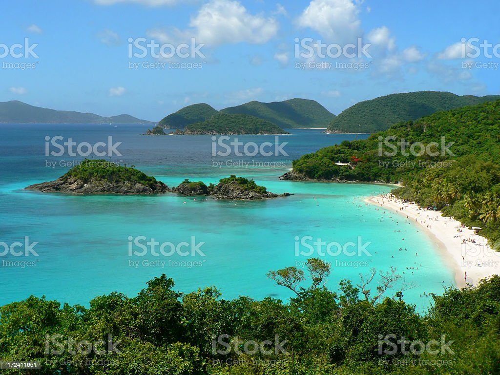 A stunning view of the sea in Trunk Bay, St John, USVI stock photo