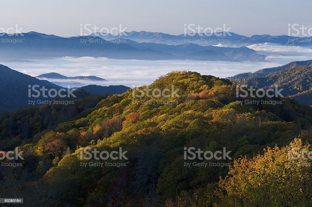 A stunning view of the Smoky Mountains National Park stock photo