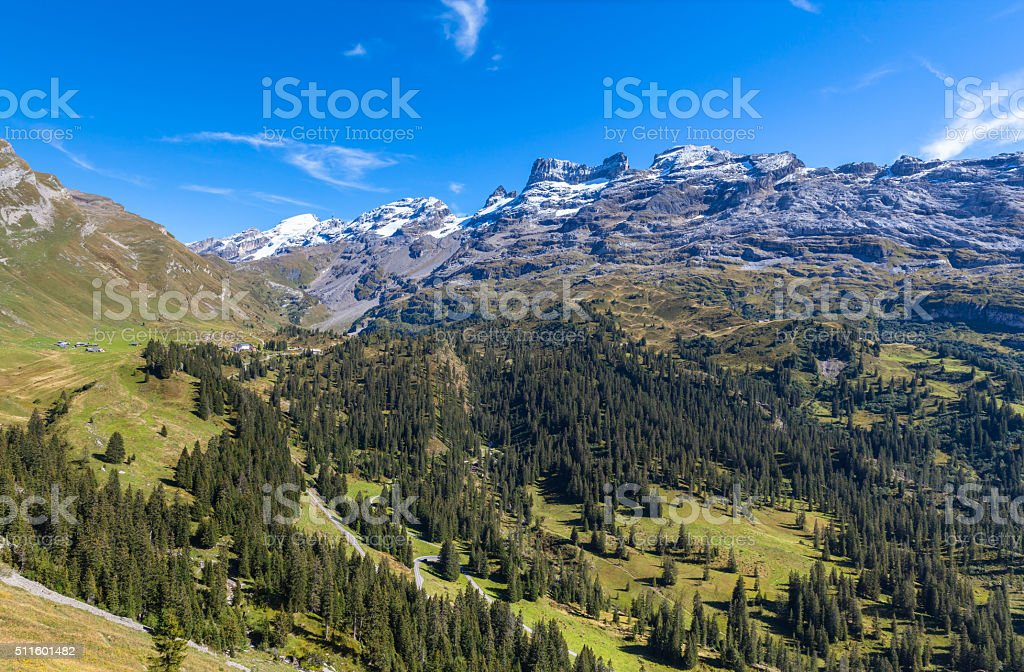 Stunning view of Titlis and Wendestock in alpen village stock photo