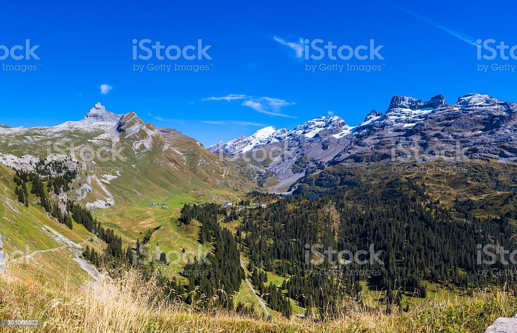 Stunning view of Titlis and Wendestock stock photo
