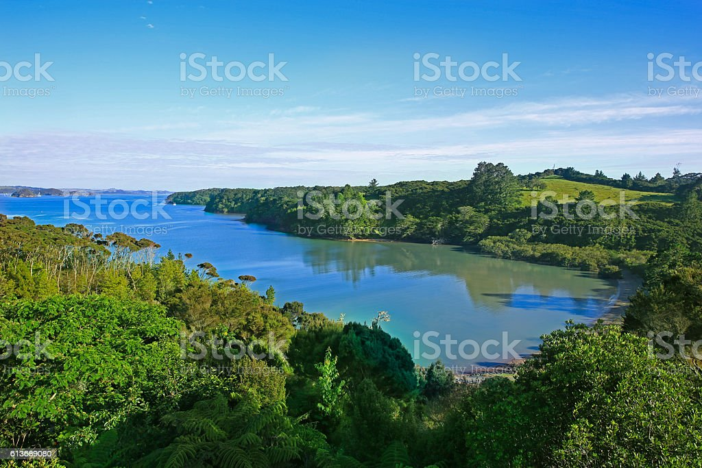 Stunning view of Whangaruru Bay from Old Russel Road stock photo