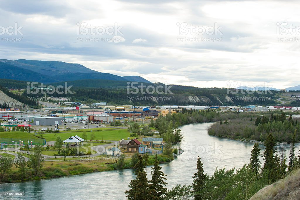 A stunning view of Whitehorse, Yukon  stock photo