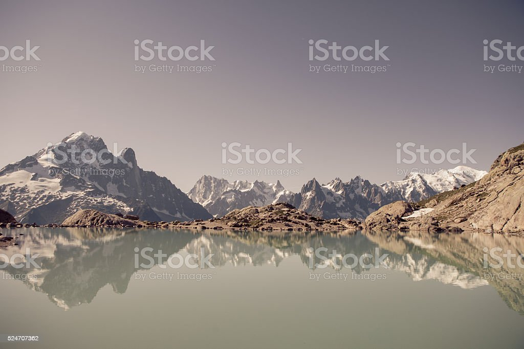 Stunning view over Lake Blanc in the French Alps stock photo