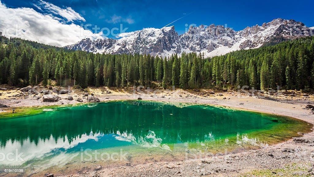 Stunning view to mountain Carezza lake in spring, Alps, Italy stock photo