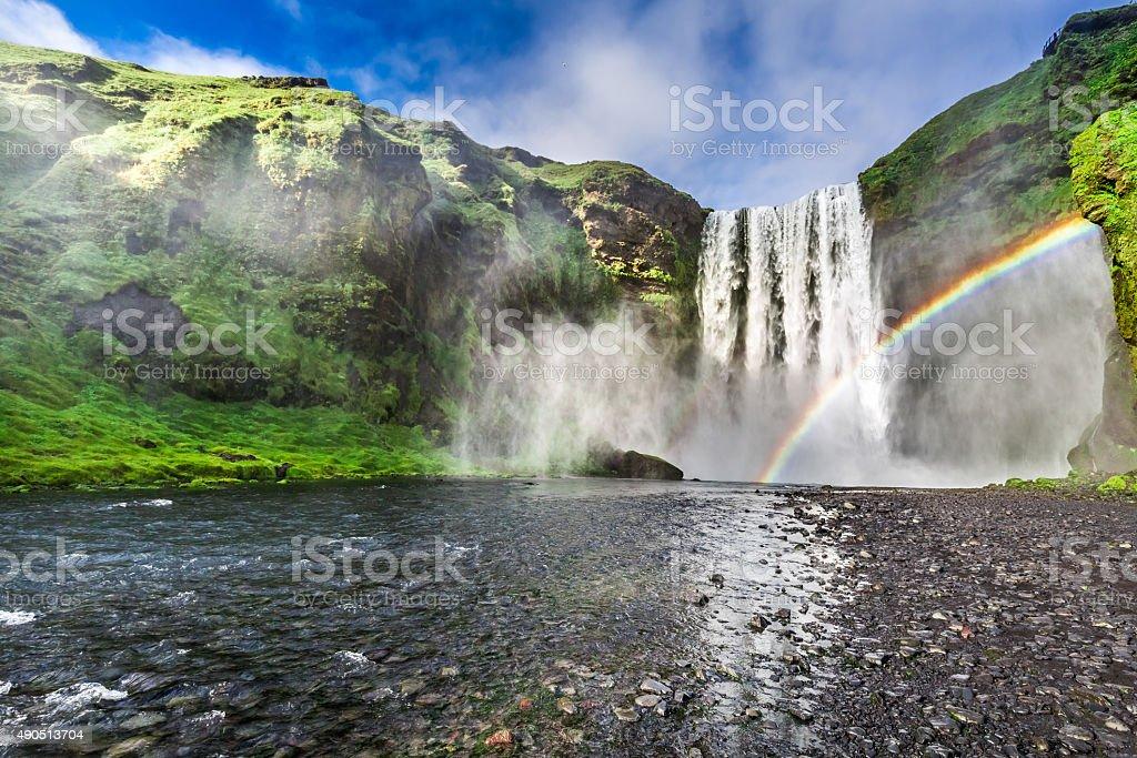 Stunning waterfall Skogafoss in Iceland stock photo