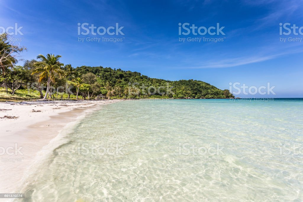 Stunning white sand beach name Bai Sao beach in the Phu Quoc island stock photo