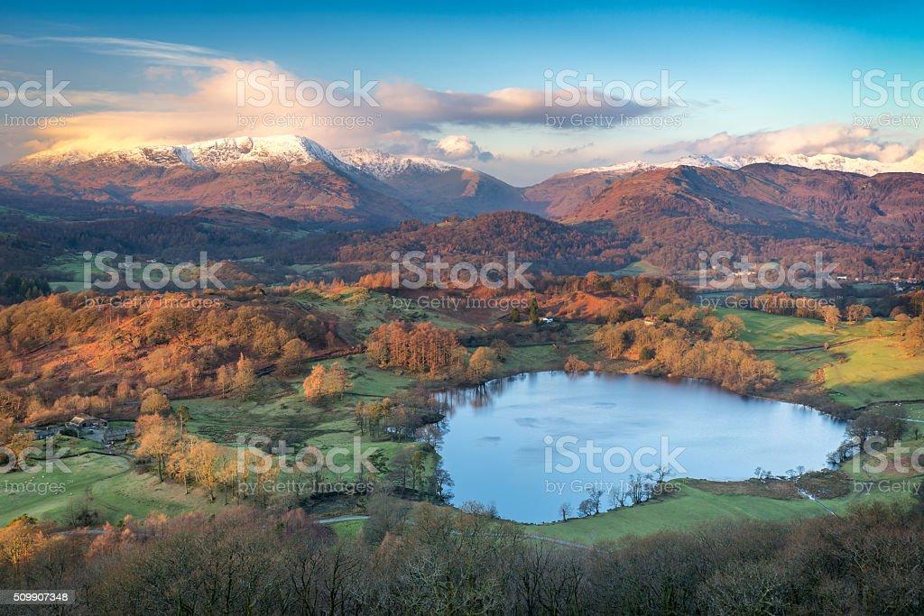 Stunning winter sunrise light across the Langdale Valley, Lake District stock photo