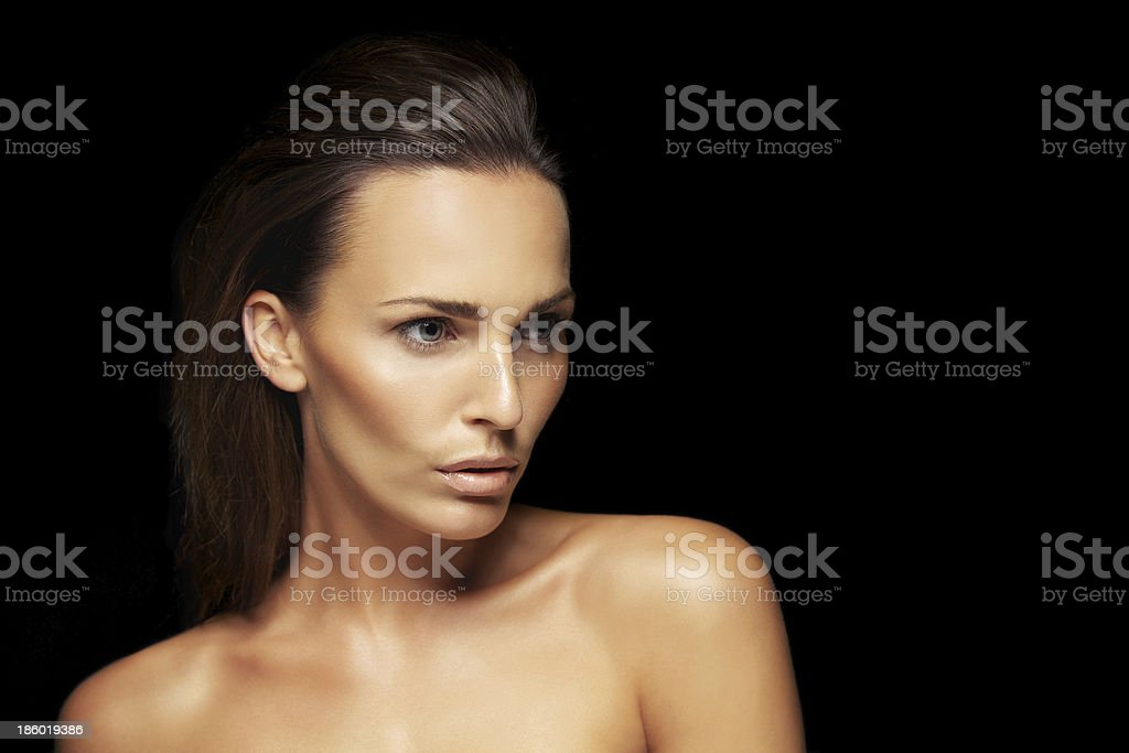Stunning young brunette looking away at copyspace royalty-free stock photo