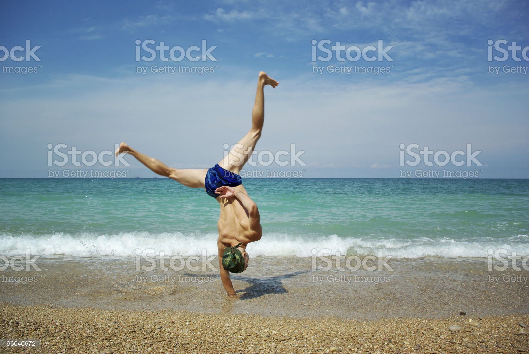 Stunt on beach royalty-free stock photo