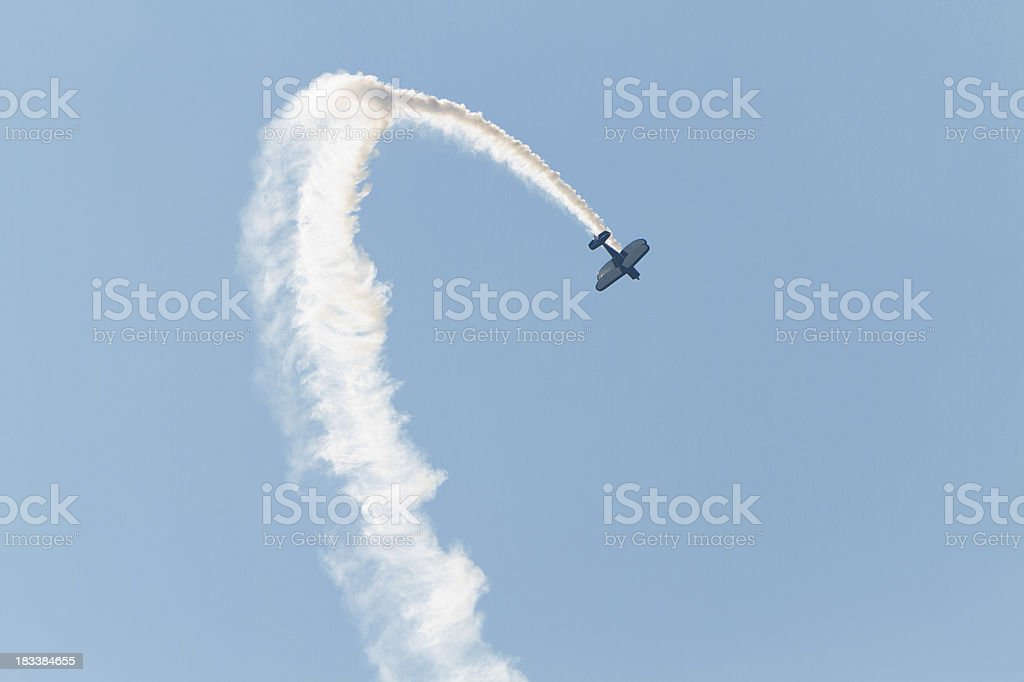 Stunt Plane up-side down. royalty-free stock photo
