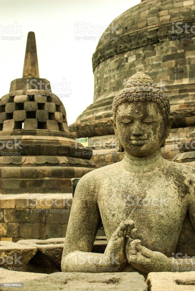 Stupa and Buddha at Borobudur stock photo