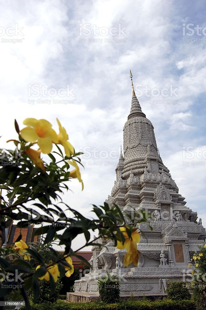 Stupa and flowers, garden of silver pagoda, Phnom Penh stock photo