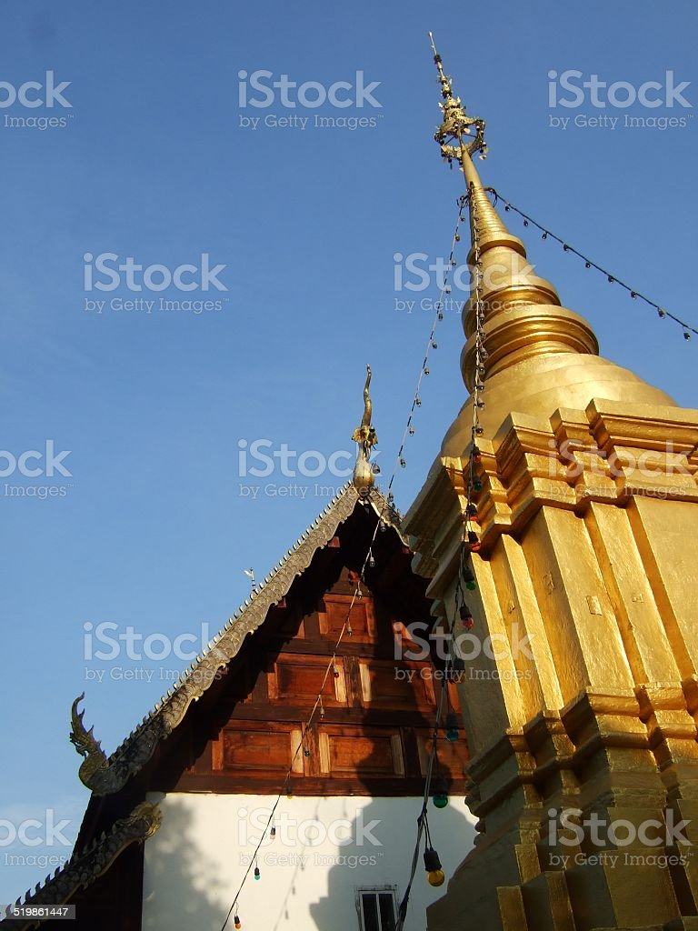 Stupa and temple in Nam-Hoo Temple, Thailand. stock photo