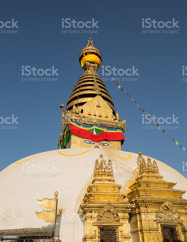 stupa at swayambhunath temp,nepal stock photo