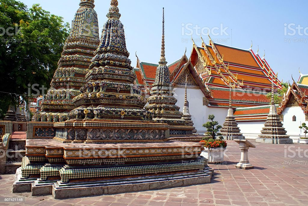 Stupa at Wat Pho in Thailand, Asia stock photo